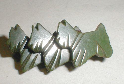 Green Bakelite Scottie dog pin
