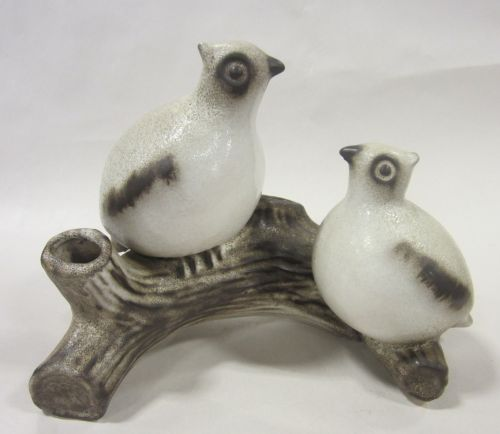 Howard Pierce Porcelain quail on logs vase