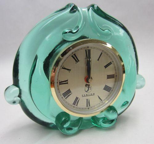 Fenton Teal Green Glass clock