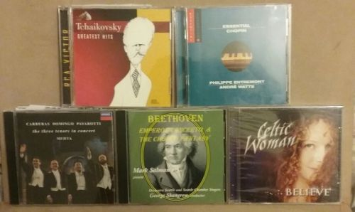 5 cd's: the three tenors, Celtic Woman, Chopin, Beethoven, Tchaikovsky