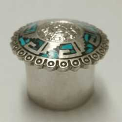 find items like this Mexican Turquiose inlaid sterling pill box in our jewlery and accessory category